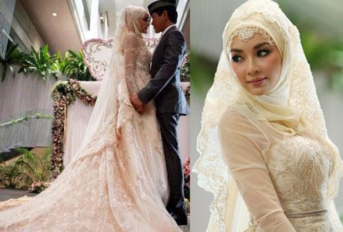 """ชุดแต่งงานอิสลาม """"เป้ย ปานวาด"""" ฮิญาบ สุดหรู สวย สง่า"""